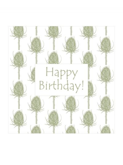 Greeting Card -HB teasel stone green mf