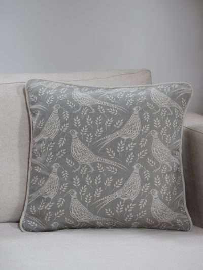 pheasant square cushion cover natural linen – small